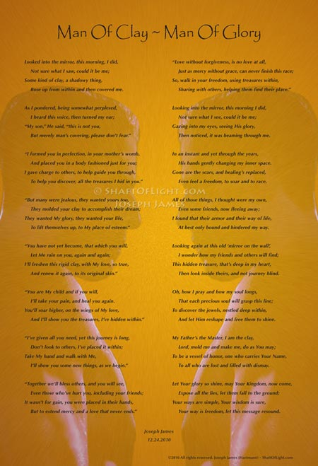 Man Of Clay ~ Man Of Glory Poem & Art Print by Joseph James