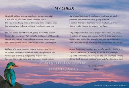 My Child Art Print & Poem by Joseph James